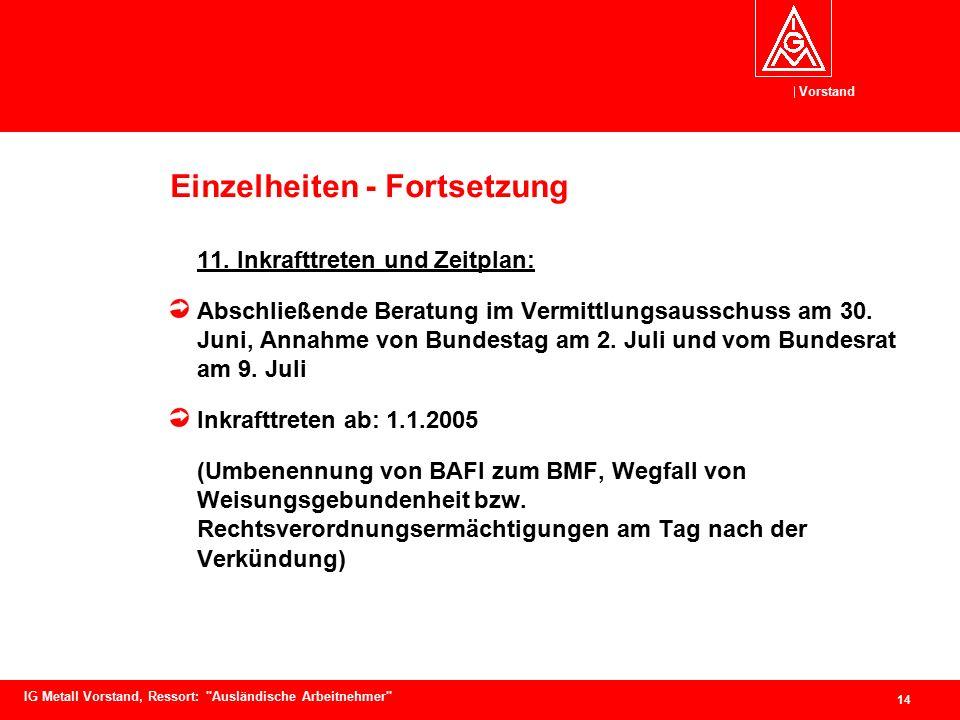 Vorstand 14 IG Metall Vorstand, Ressort: