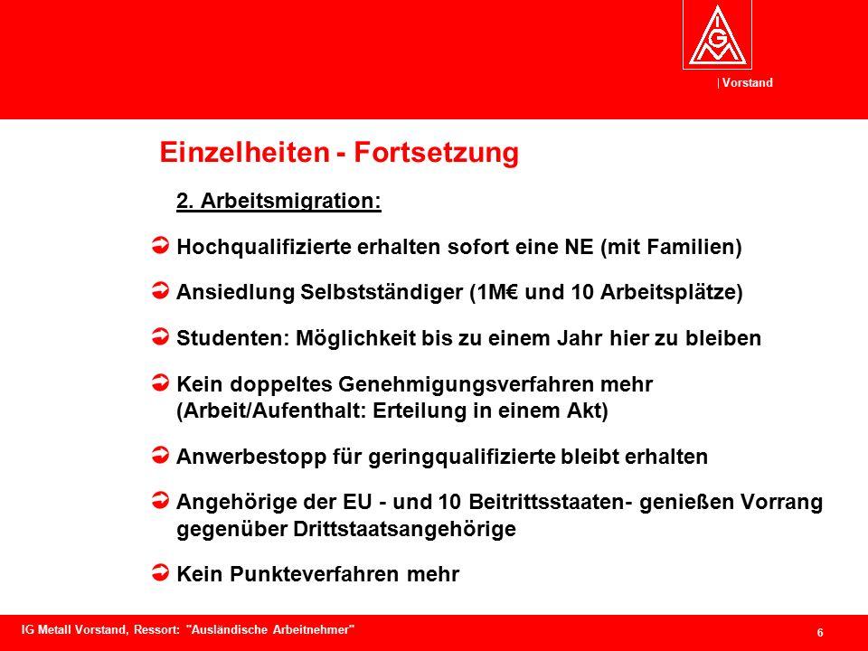 Vorstand 7 IG Metall Vorstand, Ressort: Ausländische Arbeitnehmer Einzelheiten - Fortsetzung 3.