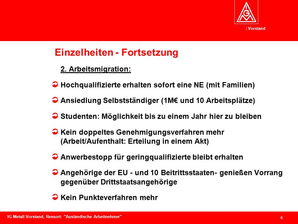 Vorstand 6 IG Metall Vorstand, Ressort: