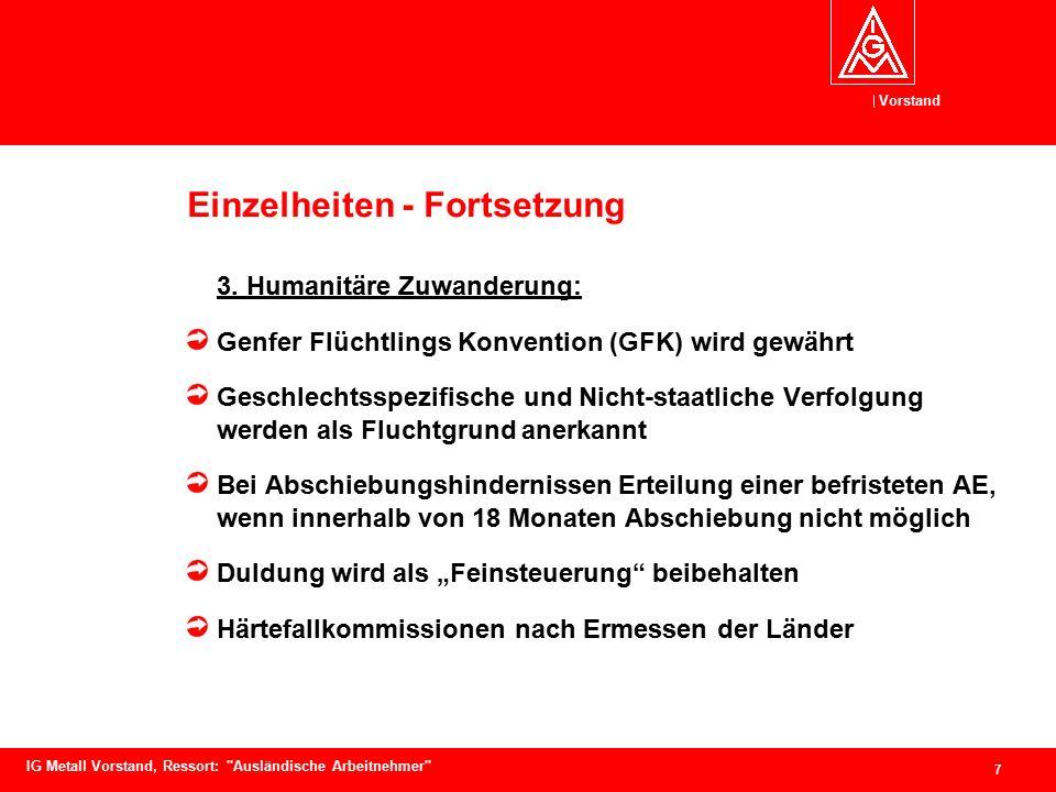Vorstand 7 IG Metall Vorstand, Ressort: