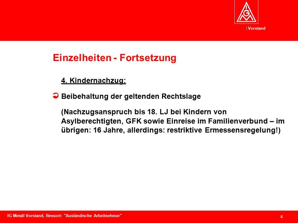 Vorstand 9 IG Metall Vorstand, Ressort: Ausländische Arbeitnehmer Einzelheiten - Fortsetzung 5.
