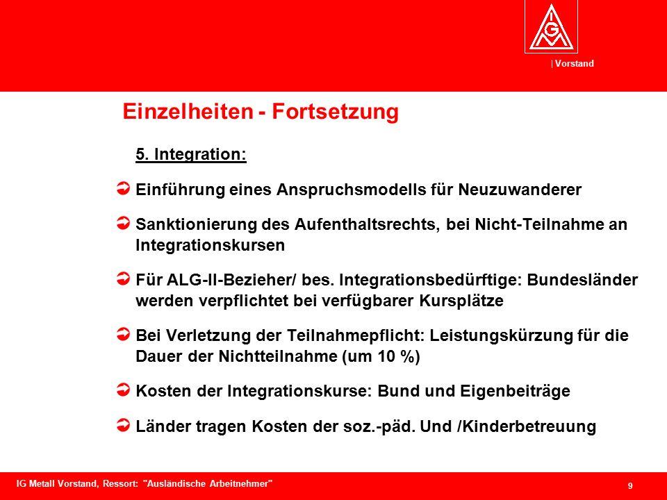 Vorstand 10 IG Metall Vorstand, Ressort: Ausländische Arbeitnehmer Einzelheiten - Fortsetzung 6.
