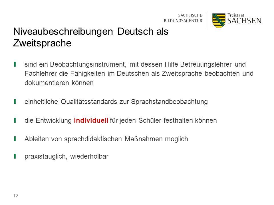 Niveaubeschreibungen Deutsch als Zweitsprache ❙ sind ein Beobachtungsinstrument, mit dessen Hilfe Betreuungslehrer und Fachlehrer die Fähigkeiten im D