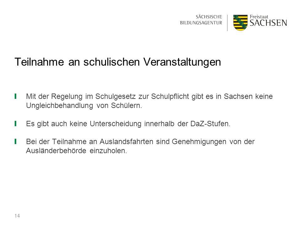 Teilnahme an schulischen Veranstaltungen ❙ Mit der Regelung im Schulgesetz zur Schulpflicht gibt es in Sachsen keine Ungleichbehandlung von Schülern.