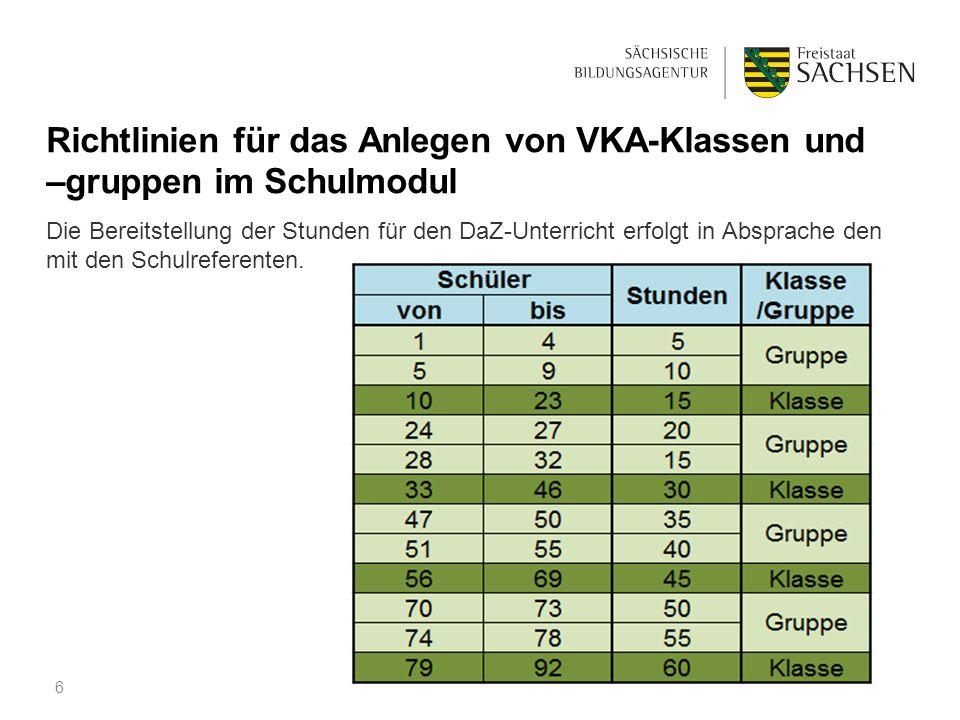 Richtlinien für das Anlegen von VKA-Klassen und –gruppen im Schulmodul Die Bereitstellung der Stunden für den DaZ-Unterricht erfolgt in Absprache den