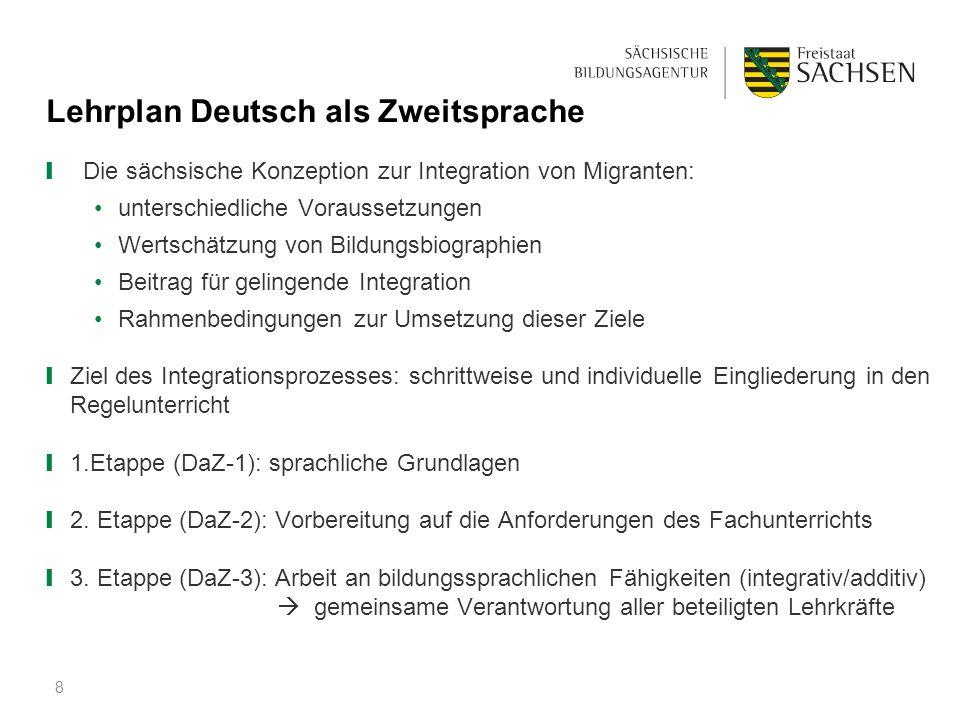 Lehrplan Deutsch als Zweitsprache ❙ Die sächsische Konzeption zur Integration von Migranten: unterschiedliche Voraussetzungen Wertschätzung von Bildun