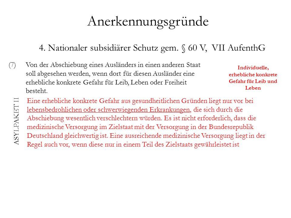 Anerkennungsgründe 4. Nationaler subsidiärer Schutz gem.