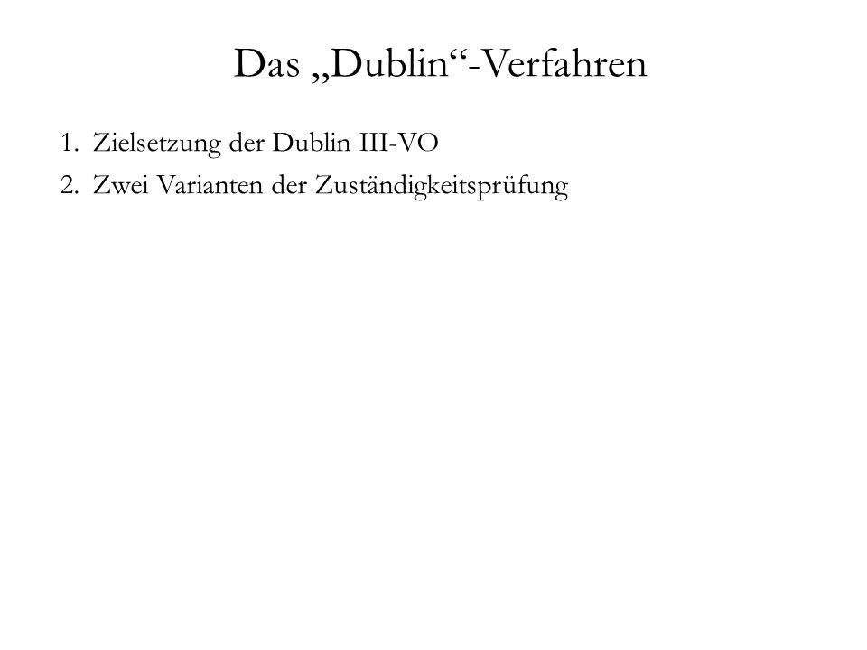 """Das """"Dublin -Verfahren 1.Zielsetzung der Dublin III-VO 2.Zwei Varianten der Zuständigkeitsprüfung"""
