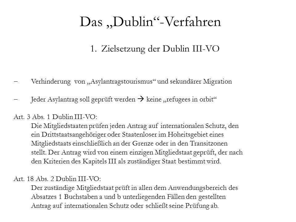 """Das """"Dublin -Verfahren 1.Zielsetzung der Dublin III-VO  Verhinderung von """"Asylantragstourismus und sekundärer Migration  Jeder Asylantrag soll geprüft werden  keine """"refugees in orbit Art."""