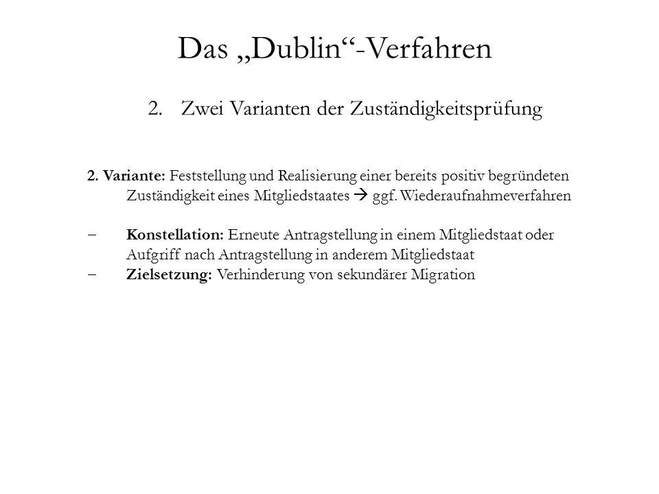 """Das """"Dublin -Verfahren 2.Zwei Varianten der Zuständigkeitsprüfung 2."""