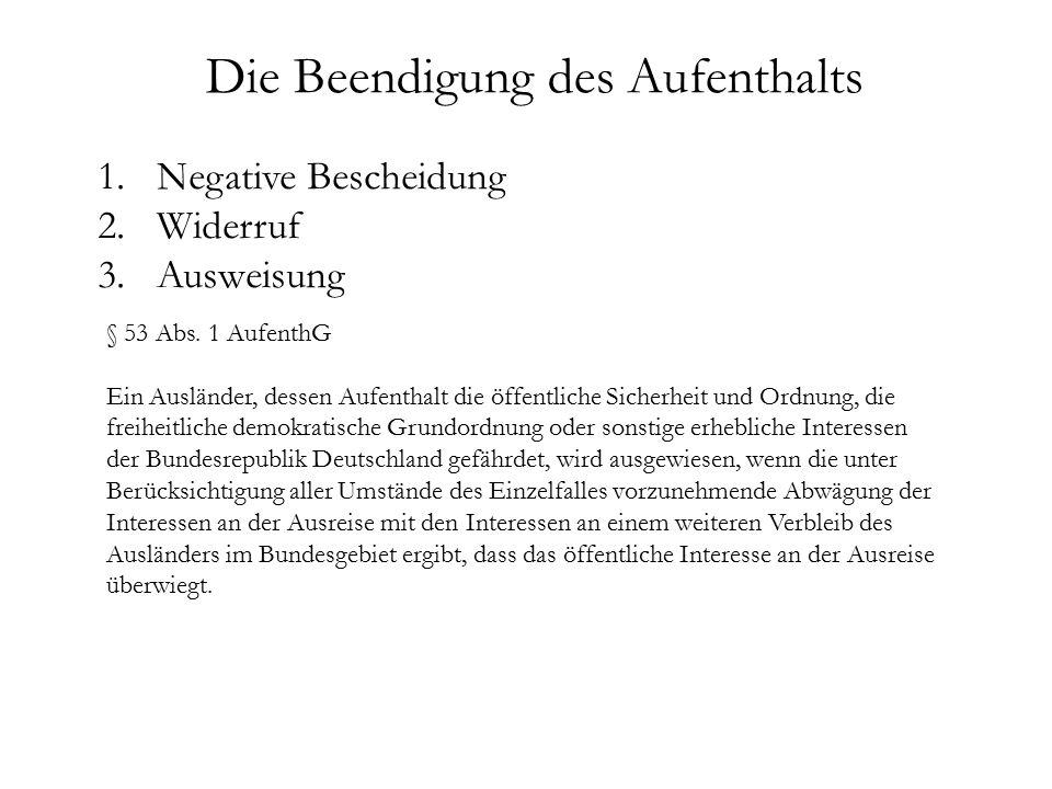 1.Negative Bescheidung 2.Widerruf 3. Ausweisung § 53 Abs.