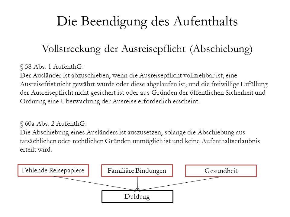 Die Beendigung des Aufenthalts Vollstreckung der Ausreisepflicht (Abschiebung) § 58 Abs.