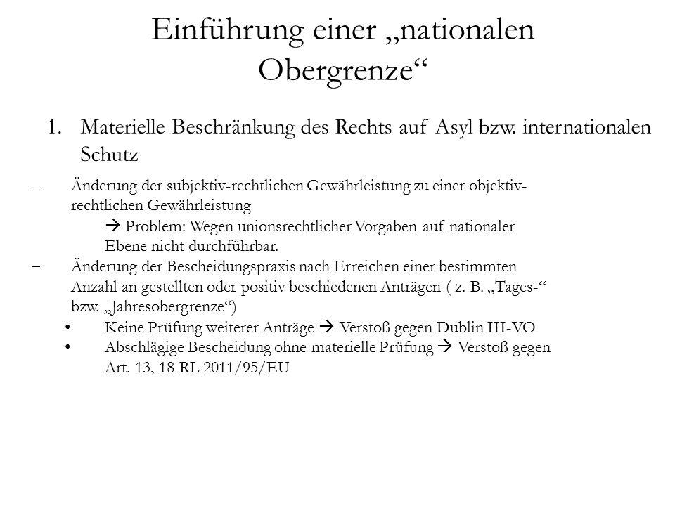 """Einführung einer """"nationalen Obergrenze 1.Materielle Beschränkung des Rechts auf Asyl bzw."""