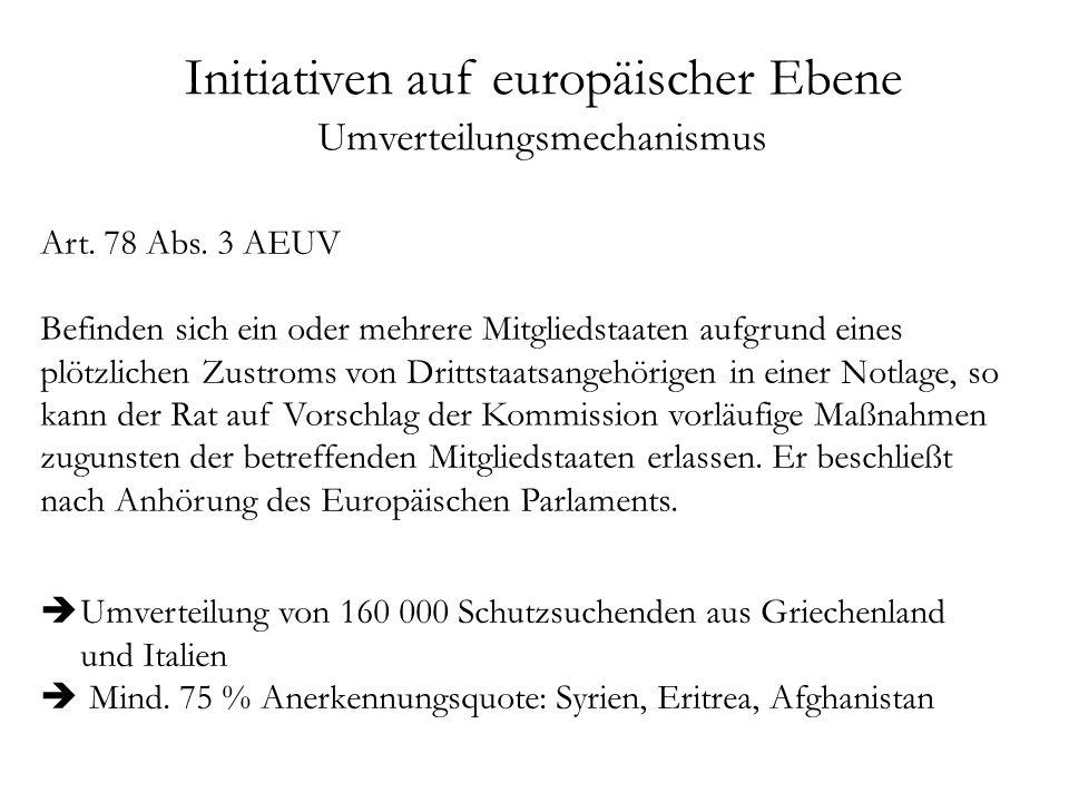 Initiativen auf europäischer Ebene Umverteilungsmechanismus Art.