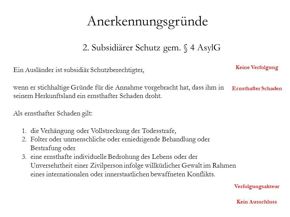 Anerkennungsgründe 2. Subsidiärer Schutz gem.