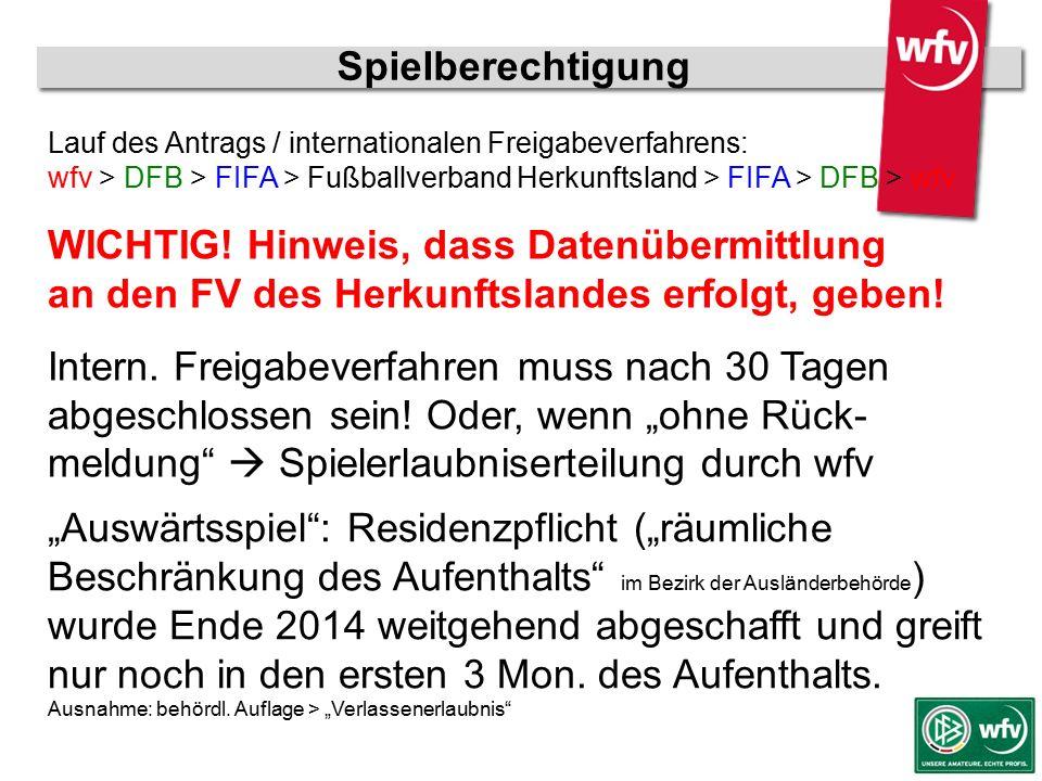 """wfv-Jugendleiter Kurzschulung Spielberechtigung """"Auswärtsspiel"""": Residenzpflicht (""""räumliche Beschränkung des Aufenthalts"""" im Bezirk der Ausländerbehö"""