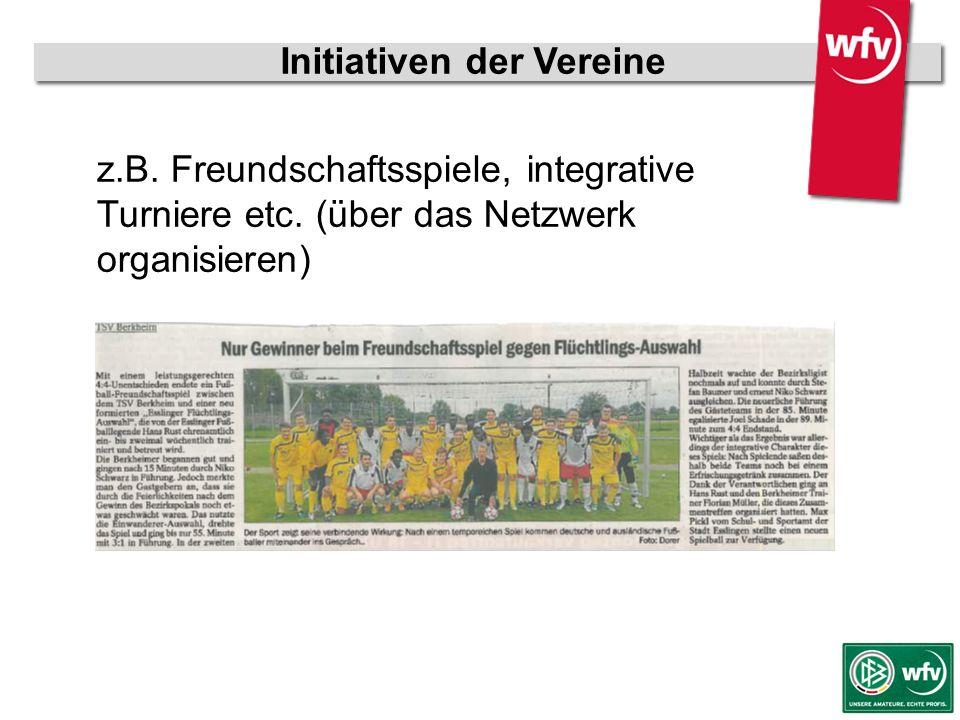 wfv-Jugendleiter Kurzschulung z.B. Freundschaftsspiele, integrative Turniere etc. (über das Netzwerk organisieren) Initiativen der Vereine