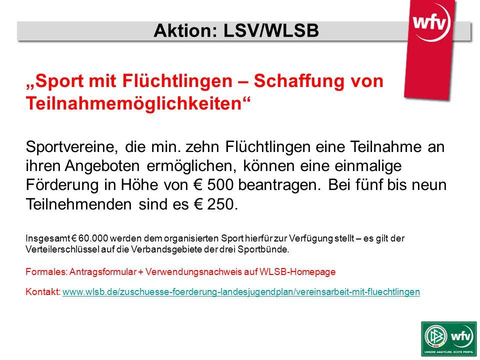 """wfv-Jugendleiter Kurzschulung Aktion: LSV/WLSB """"Sport mit Flüchtlingen – Schaffung von Teilnahmemöglichkeiten"""" Sportvereine, die min. zehn Flüchtlinge"""