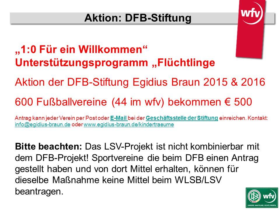 """wfv-Jugendleiter Kurzschulung Aktion: DFB-Stiftung """"1:0 Für ein Willkommen"""" Unterstützungsprogramm """"Flüchtlinge Aktion der DFB-Stiftung Egidius Braun"""