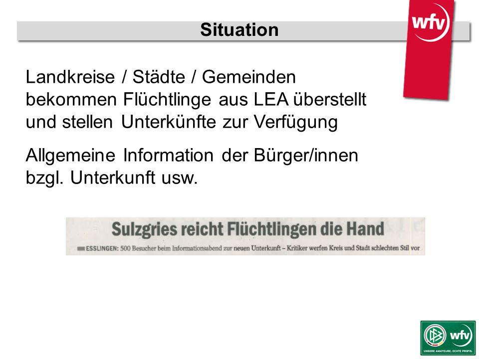 wfv-Jugendleiter Kurzschulung Situation Landkreise / Städte / Gemeinden bekommen Flüchtlinge aus LEA überstellt und stellen Unterkünfte zur Verfügung Allgemeine Information der Bürger/innen bzgl.