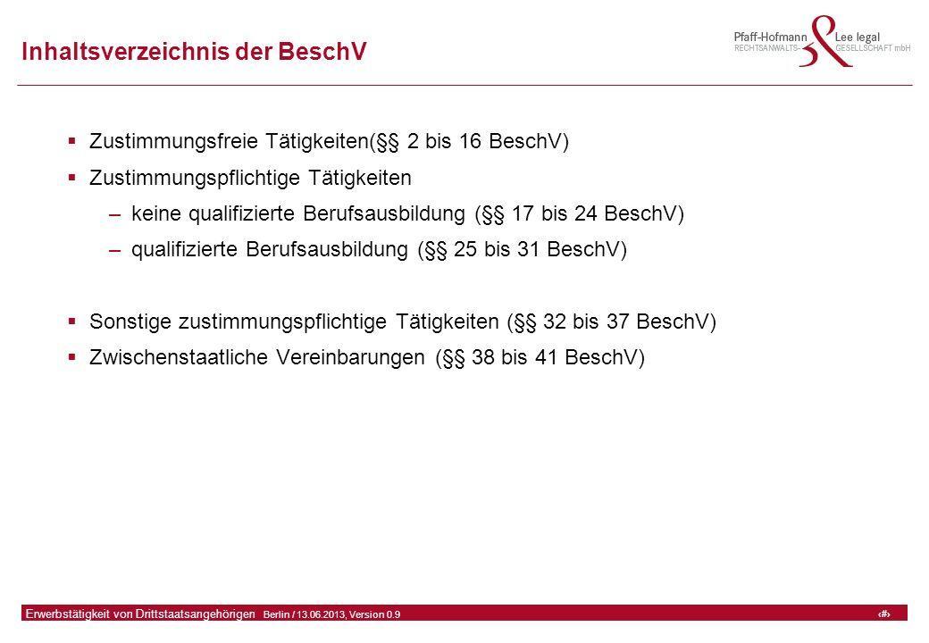 11 GFA Release Kredit I  Frankfurt (Main) / 06.07.2010, Version 0.9 11 Erwerbstätigkeit von Drittstaatsangehörigen  Berlin / 13.06.2013, Version 0.9 Inhaltsverzeichnis der BeschV  Zustimmungsfreie Tätigkeiten(§§ 2 bis 16 BeschV)  Zustimmungspflichtige Tätigkeiten –keine qualifizierte Berufsausbildung (§§ 17 bis 24 BeschV) –qualifizierte Berufsausbildung (§§ 25 bis 31 BeschV)  Sonstige zustimmungspflichtige Tätigkeiten (§§ 32 bis 37 BeschV)  Zwischenstaatliche Vereinbarungen (§§ 38 bis 41 BeschV)