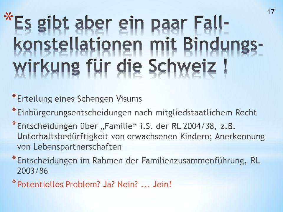 """* Erteilung eines Schengen Visums * Einbürgerungsentscheidungen nach mitgliedstaatlichem Recht * Entscheidungen über """"Familie i.S."""