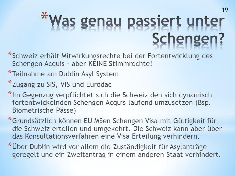 * Schweiz erhält Mitwirkungsrechte bei der Fortentwicklung des Schengen Acquis – aber KEINE Stimmrechte.