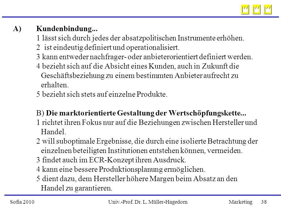 Univ.-Prof. Dr. L. Müller-HagedornSofia 2010Marketing 38 A)Kundenbindung...