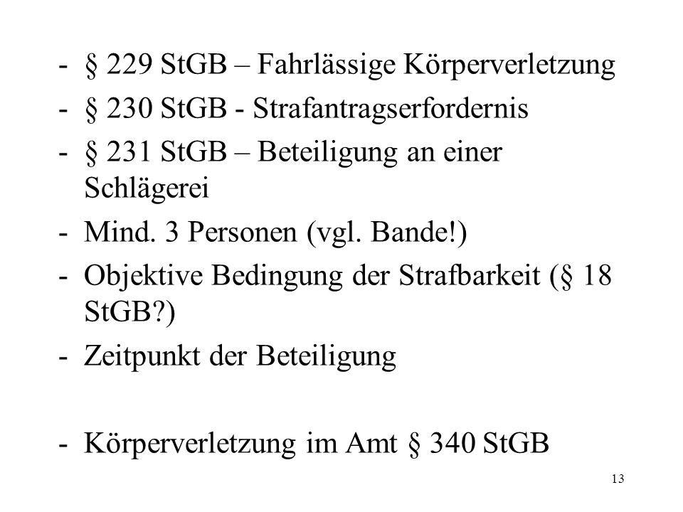 -§ 229 StGB – Fahrlässige Körperverletzung -§ 230 StGB - Strafantragserfordernis -§ 231 StGB – Beteiligung an einer Schlägerei -Mind.