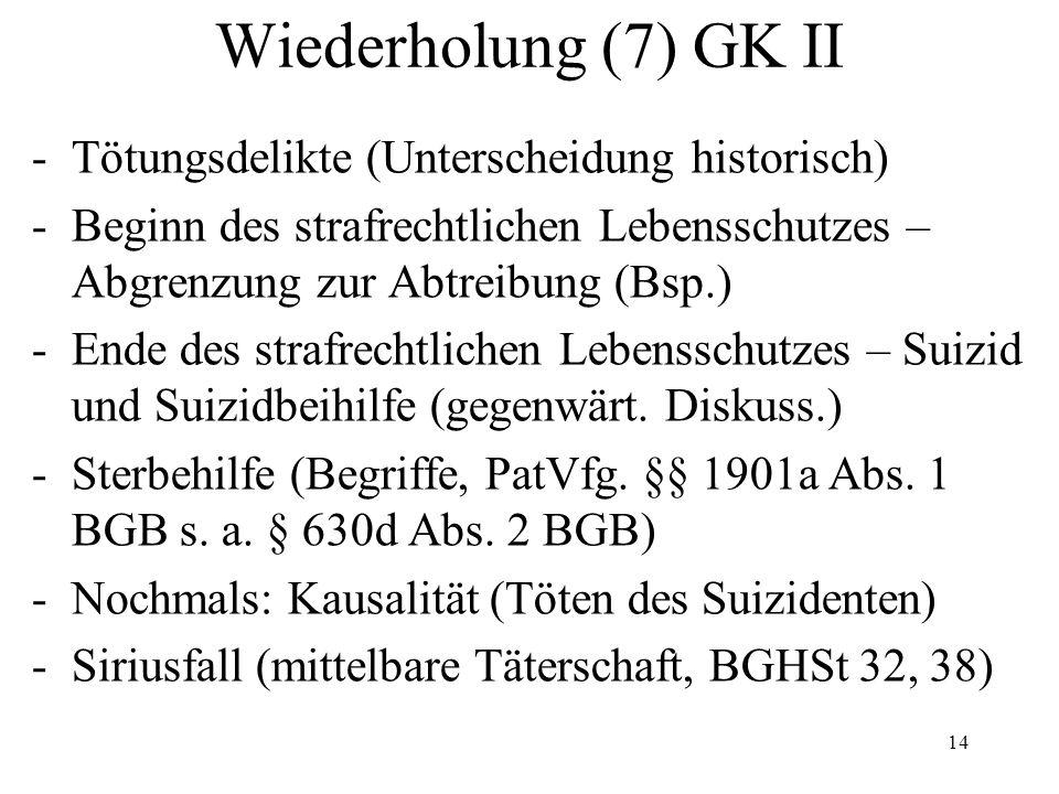 Wiederholung (7) GK II -Tötungsdelikte (Unterscheidung historisch) -Beginn des strafrechtlichen Lebensschutzes – Abgrenzung zur Abtreibung (Bsp.) -Ende des strafrechtlichen Lebensschutzes – Suizid und Suizidbeihilfe (gegenwärt.