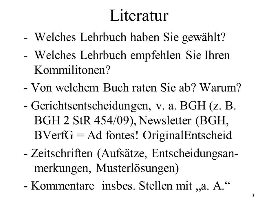 Literatur -Welches Lehrbuch haben Sie gewählt. -Welches Lehrbuch empfehlen Sie Ihren Kommilitonen.
