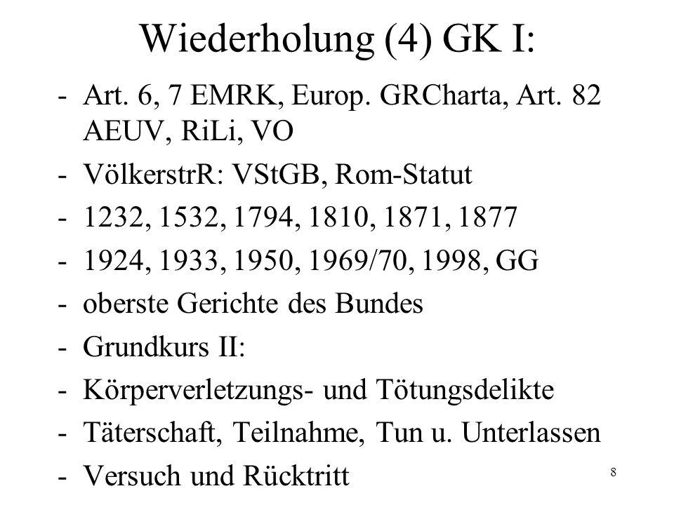 Wiederholung (4) GK I: -Art. 6, 7 EMRK, Europ. GRCharta, Art.