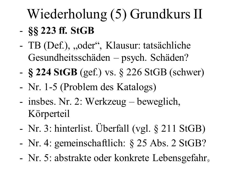 Wiederholung (6) GK II: -§ 226 StGB -Erfolgsqualifikation, Leichtfertigkeit, § 18 StGB, siehe auch Abs.