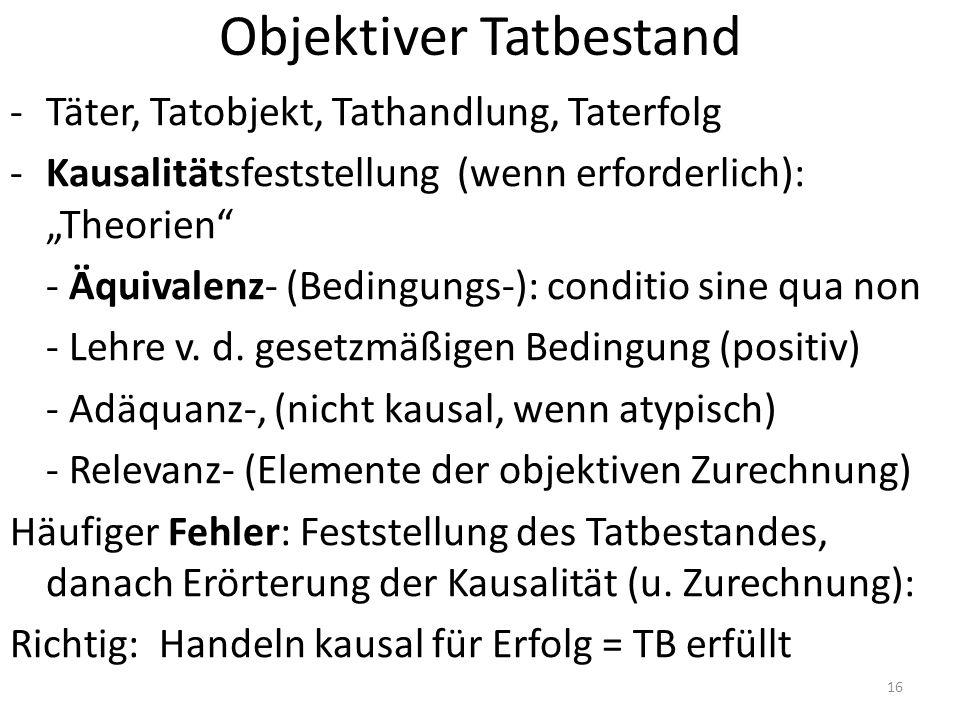 """Objektiver Tatbestand -Täter, Tatobjekt, Tathandlung, Taterfolg -Kausalitätsfeststellung (wenn erforderlich): """"Theorien"""" - Äquivalenz- (Bedingungs-):"""