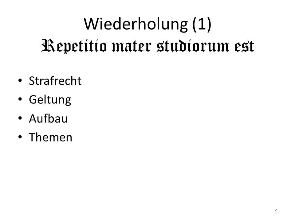 Wiederholung (1) Repetitio mater studiorum est Strafrecht Geltung Aufbau Themen 9