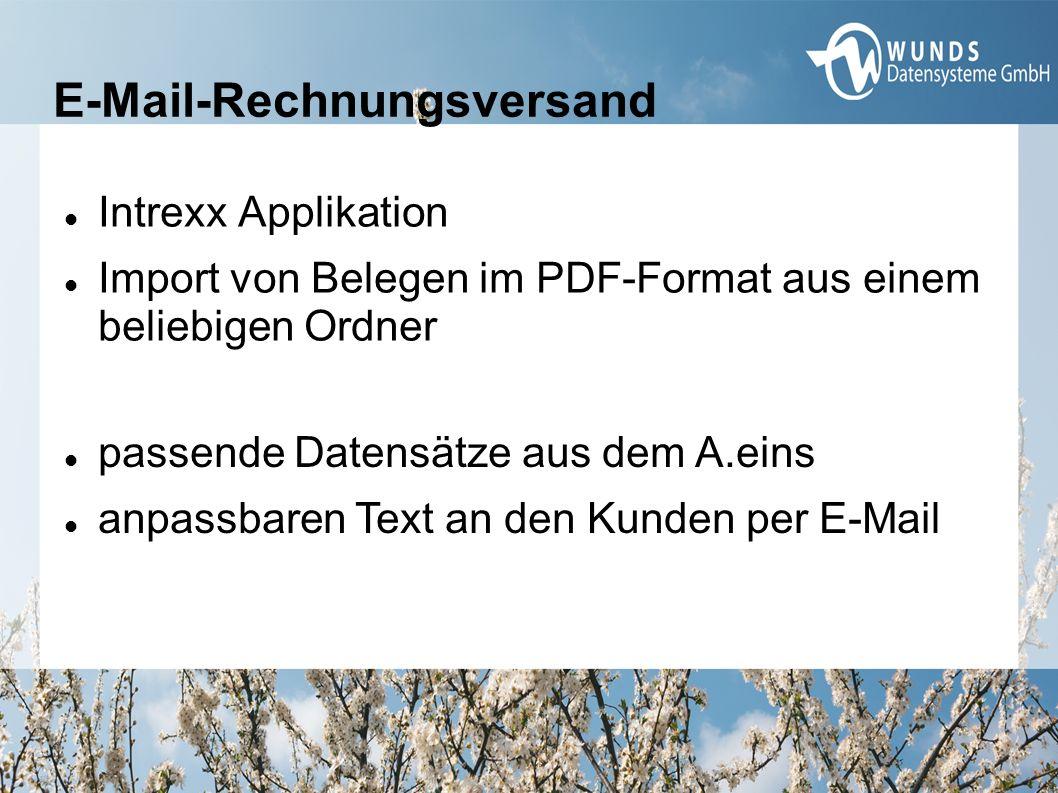 E-Mail-Rechnungsversand Intrexx Applikation Import von Belegen im PDF-Format aus einem beliebigen Ordner passende Datensätze aus dem A.eins anpassbaren Text an den Kunden per E-Mail