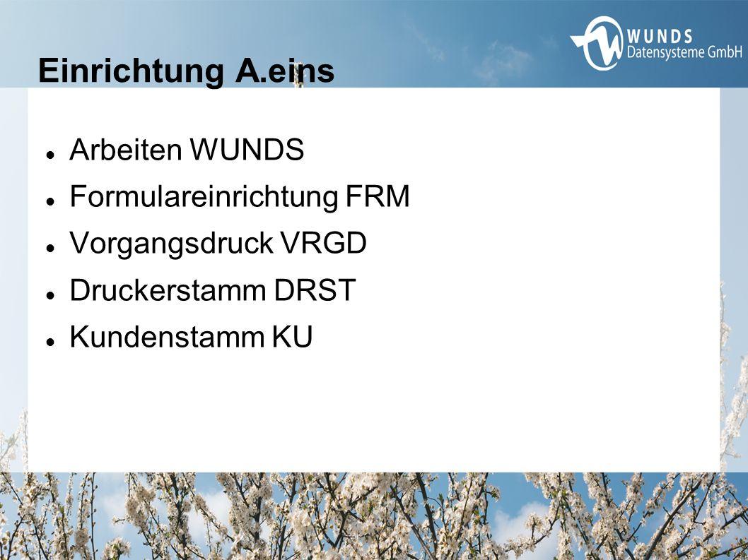 Einrichtung A.eins Arbeiten WUNDS Formulareinrichtung FRM Vorgangsdruck VRGD Druckerstamm DRST Kundenstamm KU