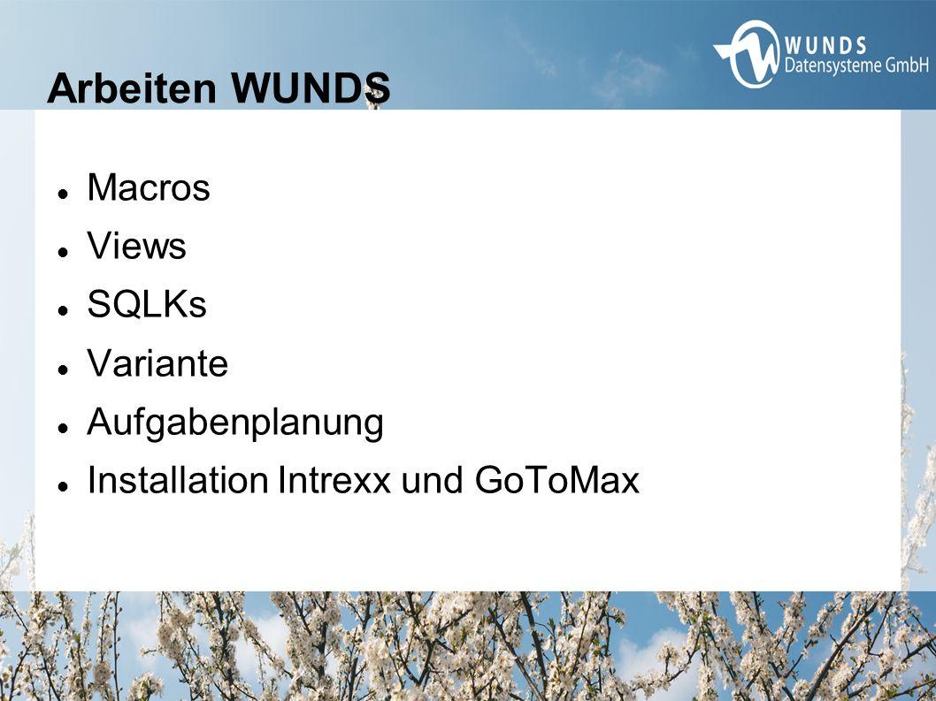 Arbeiten WUNDS Macros Views SQLKs Variante Aufgabenplanung Installation Intrexx und GoToMax