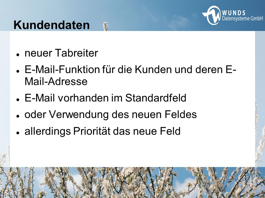 Kundendaten neuer Tabreiter E-Mail-Funktion für die Kunden und deren E- Mail-Adresse E-Mail vorhanden im Standardfeld oder Verwendung des neuen Feldes allerdings Priorität das neue Feld