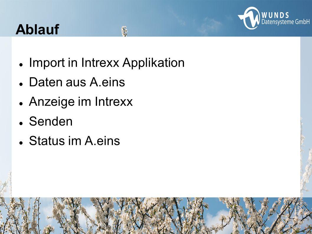 Ablauf Import in Intrexx Applikation Daten aus A.eins Anzeige im Intrexx Senden Status im A.eins