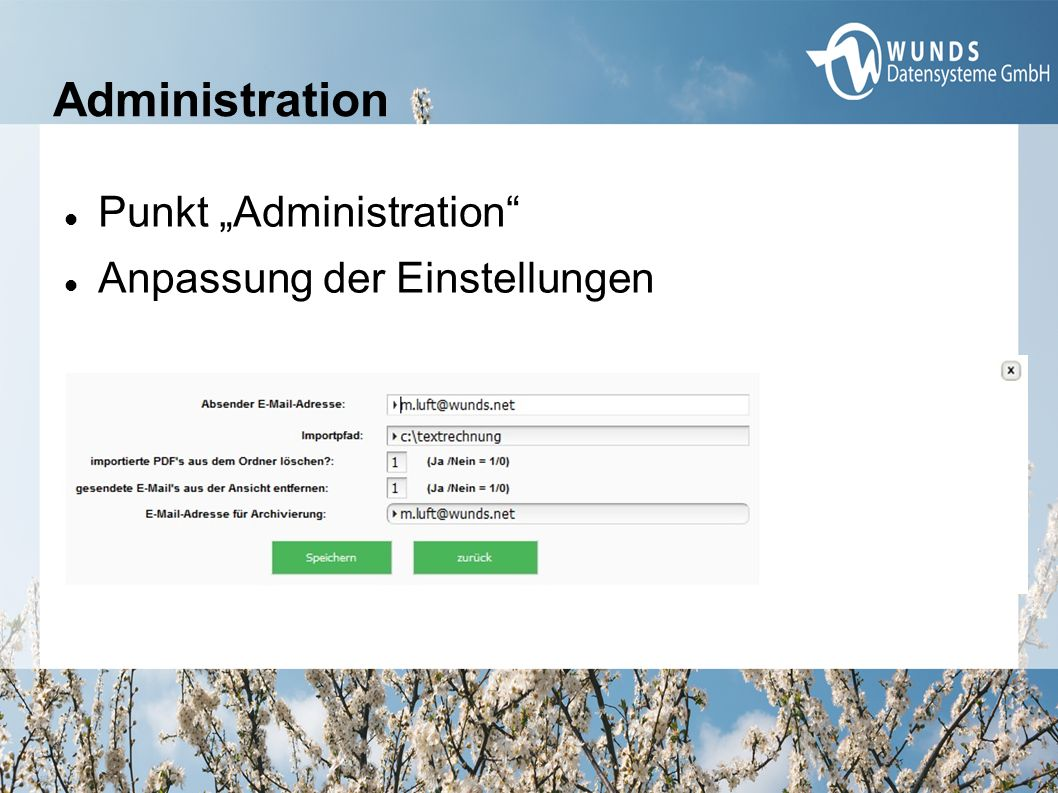 """Administration Punkt """"Administration"""" Anpassung der Einstellungen"""