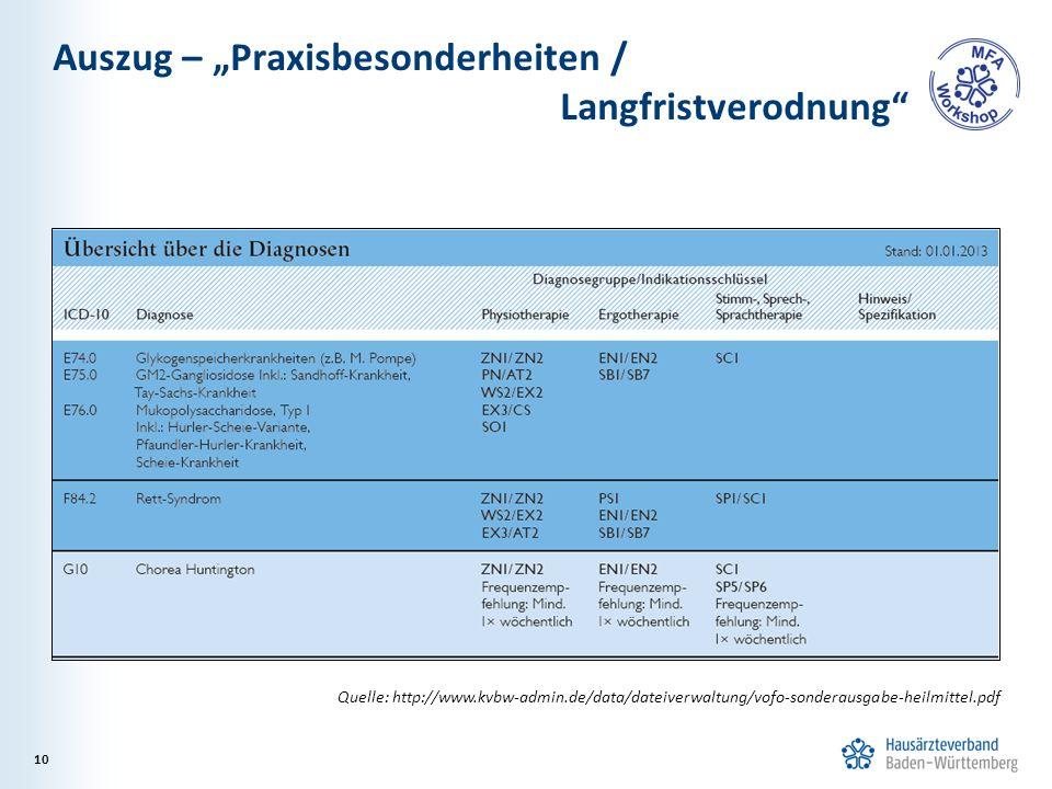 """Auszug – """"Praxisbesonderheiten / Langfristverodnung"""" 10 Quelle: http://www.kvbw-admin.de/data/dateiverwaltung/vofo-sonderausgabe-heilmittel.pdf"""
