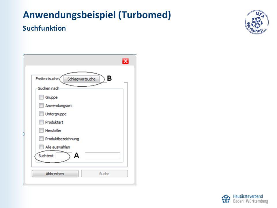 Anwendungsbeispiel (Turbomed) Suchfunktion