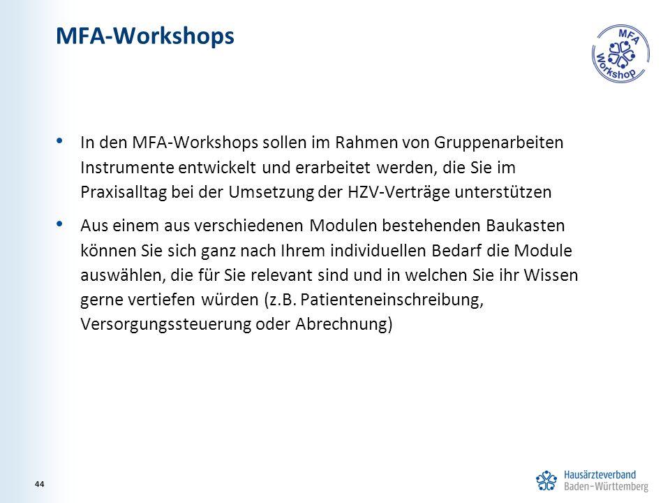 MFA-Workshops In den MFA-Workshops sollen im Rahmen von Gruppenarbeiten Instrumente entwickelt und erarbeitet werden, die Sie im Praxisalltag bei der