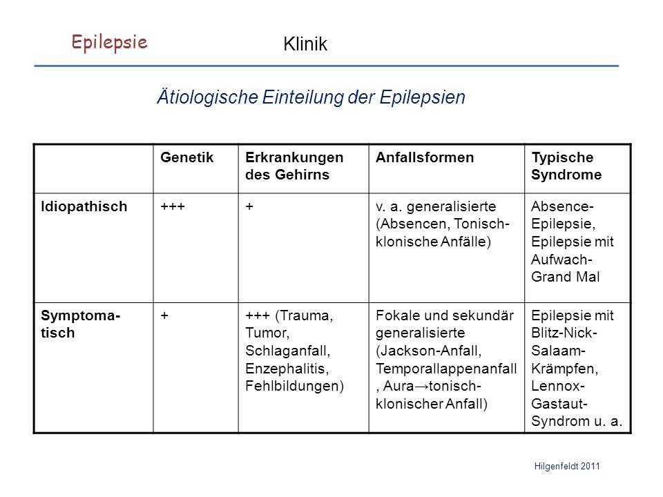 Epilepsie Hilgenfeldt 2011 Klinik Ätiologische Einteilung der Epilepsien GenetikErkrankungen des Gehirns AnfallsformenTypische Syndrome Idiopathisch++++v.