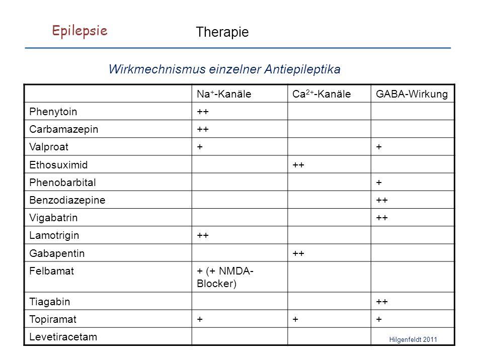 Epilepsie Hilgenfeldt 2011 Therapie Na + -KanäleCa 2+ -KanäleGABA-Wirkung Phenytoin++ Carbamazepin++ Valproat++ Ethosuximid++ Phenobarbital+ Benzodiazepine++ Vigabatrin++ Lamotrigin++ Gabapentin++ Felbamat+ (+ NMDA- Blocker) Tiagabin++ Topiramat+++ Levetiracetam Wirkmechnismus einzelner Antiepileptika
