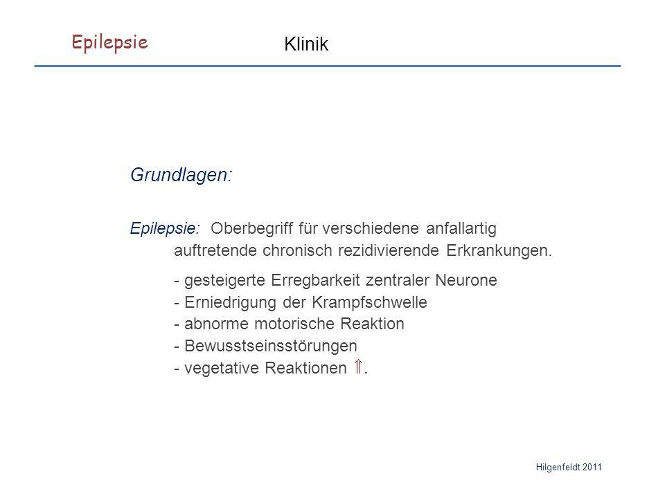 Epilepsie Hilgenfeldt 2011 Therapie Gabapentin Wirkmechanismus: Hemmung eines Ca 2+ -Kanals (α2δ, P/Q-Typ) und dadurch der Glutamat-Freisetzung Indikation: Zusatzmedikation bei fokalen (sekundär generalisierten) Anfällen.