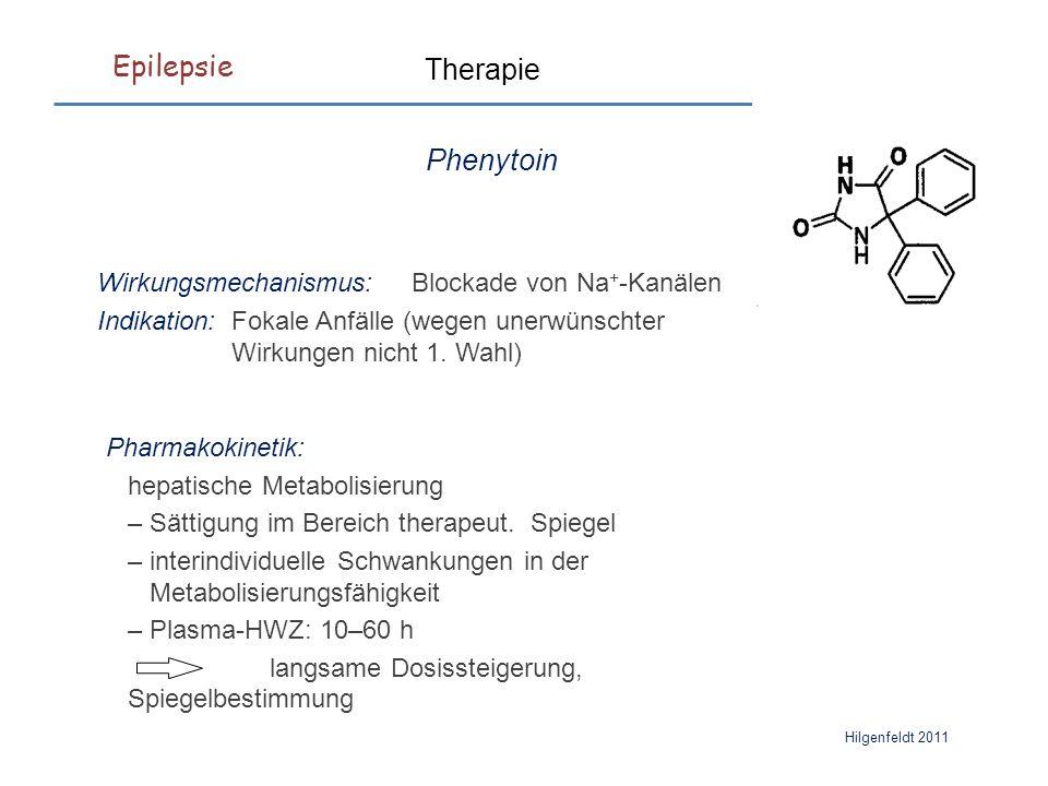 Epilepsie Hilgenfeldt 2011 Therapie Phenytoin Wirkungsmechanismus: Blockade von Na + -Kanälen Indikation: Fokale Anfälle (wegen unerwünschter Wirkungen nicht 1.