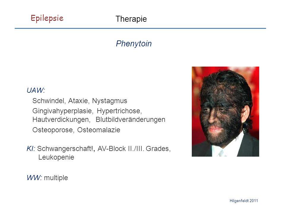 Epilepsie Hilgenfeldt 2011 UAW: Schwindel, Ataxie, Nystagmus Gingivahyperplasie, Hypertrichose, Hautverdickungen, Blutbildveränderungen Osteoporose, Osteomalazie KI: Schwangerschaft!, AV-Block II./III.