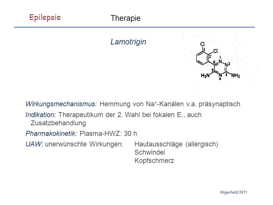 Epilepsie Hilgenfeldt 2011 Lamotrigin Wirkungsmechanismus: Hemmung von Na + -Kanälen v.a.